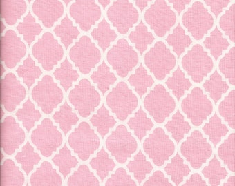 Cotton Fabric -  Pink and White Quatrefoil Fabric by the Yard - Quilt Fabric - Apparel Fabric - Home Decor Fabric - Fat Quarters