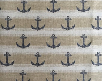Cotton Fabric -  Tan Anchor Nautical Fabric Fabric by the Yard - Quilt Fabric - Apparel Fabric - Home Decor Fabric - Fat Quarters