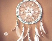 Christmas SALE -20%  --  Dream Catcher - White Flower Mandala - With White Handmade Crochet Web and White Feathers - Mobile, Home Decor