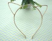 Sale--5 pcs Headbands --Gold  Cloth Covered Cat Head Shape Headband 3mm Wide