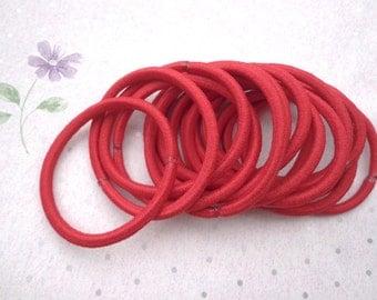 Hair elastics,red ponytail elastics,ponytail holders,pigtail holders--20 pcs