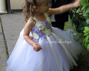 TUTU Flower girl dress Ivory wisteria sleeves chiffton roses flower girl dress 1T 2T 3T 4T 5T 6T 7T 8T 9T