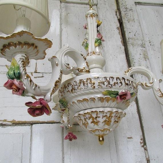 porcelain rose chandelier white shabby cottage by anitasperodesign. Black Bedroom Furniture Sets. Home Design Ideas