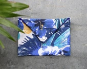 Tropical cotton pouch for women / everyday or wedding clutch / Hibiscus & palm leaves print