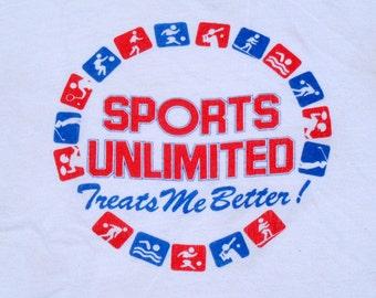 Vintage 1980s White Sports Unlimited Cotton T-Shirt L