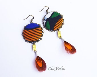 Feather african fabric earrings / Ethnic Tribal Jewelry / Gift ideas for women