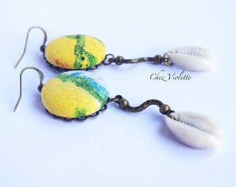 Beach Sea Shell Cowrie earrings Summer Ink Fabric yellow Jewelry