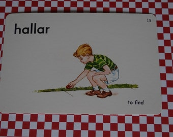 """Vintage 1962 """"Find"""" Picture & Word Flash Card, Choice of English (find), French (trouver) or Spanish (hallar), Whitman Publ, Racine, WI"""
