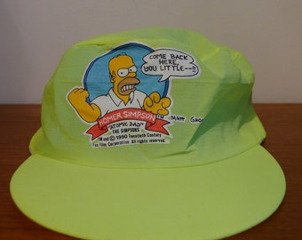 Vintage SIMPSONS Bootleg Homer Hat Headwear One Size Fits All Universal tag homer simpson cartoon show