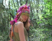 UTHA SHAMAN - tropical blossoming  - festival headdress - statement hat - headdress - burning man- festival headpiece