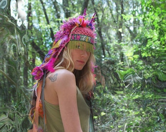 UTHA SHAMAN - tropical blossoming  - festival headdress - statement hat - headdress - burning man- festival headpiece
