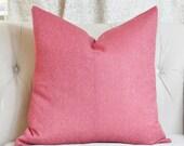 Pink Pillow - Herringbone - Dark PInk Pillow Cover - Strawberry Pillow Cover