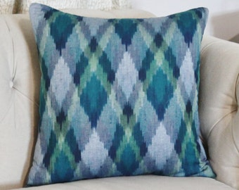 Ikat Pillow Cover - Blue Green Pillow Cover - Navy Blue Hand loomed Pillow Cover - Plaid Ikat - Multi Colored Pillow Cover - Ikat