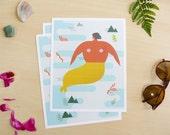 Tropical Modern Mermaid Print