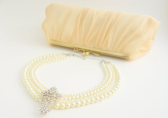 Romantic Light Gold Champagne Lace Bridal Clutch Purse - Wedding/Evening/Bridesmaid Hand Bag - Includes Crossbody Chain - Ready to Ship