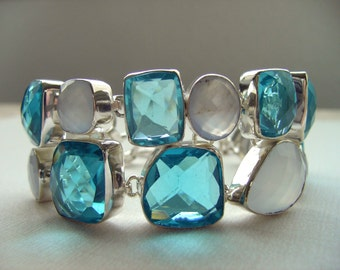 Very Beautiful and Brilliant Multi-stone Bracelet set in Sterling Silver