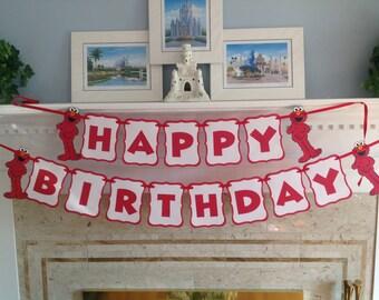 Elmo Red Polka Dot Happy Birthday Banner