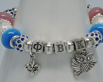 PHI BETA KAPPA: Silver Plate European Style Large Hole Bead Honor Society Pink Blue Bracelet Accessory Gift