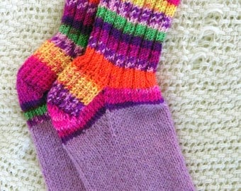 Hand knit wool blend small adult or child socks