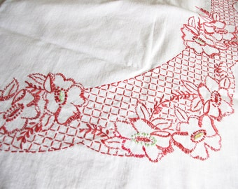 Vintage Tablecloth 1940s Embroidered Redwork Tea / Luncheon
