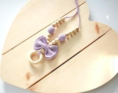 Lilac Teething Necklace with Bow, Natural Wooden Nursing Necklace for Babies,  Baby Shower Gift, New Mother Jewelry