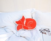 Sleepy Fyn the Fox Pillow in Burnt Orange
