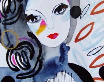 Portrait Woman Contemporary Art - Original Watercolor - Face Woman Art Portrait Painting - Portrait Drawing - Home Decor Art Grey - Face Art