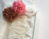 2 yards high quality leaves embiordered lace scalloped edges.  Summer Leaves.  Simple design.  Wedding lace. clothes making. Dress skirt bot