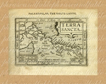 Map Of The Holy Land From The 1600s 326 Middle East West Bank Gaza Strip Palestinian Authority Egypt Syria Jordan Terra Sancta