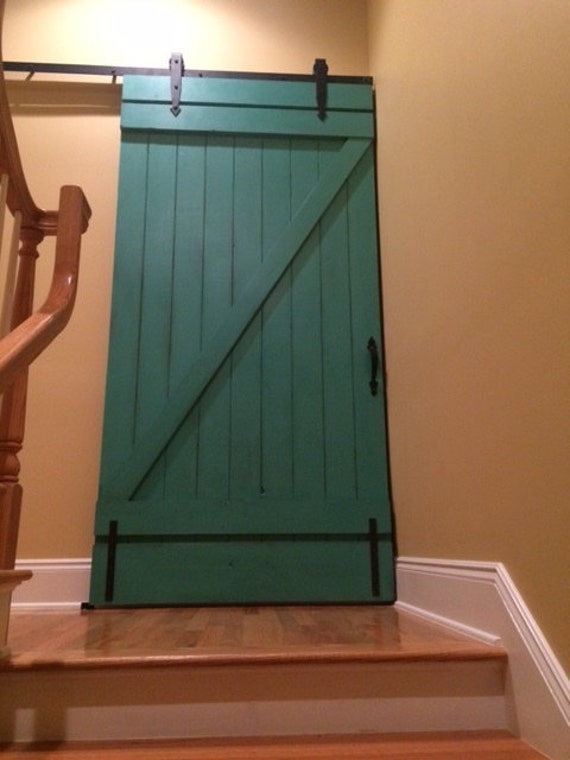 Custom sliding barn door vintage inspired barn door painted for Custom sliding doors
