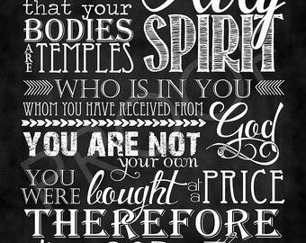 Scripture Art - I Corinthians 6:19-20 Chalkboard Style