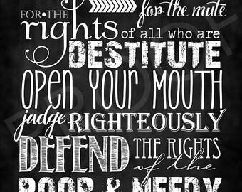 Scripture Art - Proverbs 31:8-9 Chalkboard Style