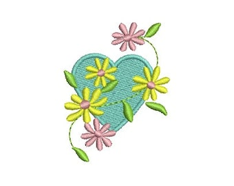 Heart and Flowers Embroidery Design, Heart Embroidery Design (562) Instant Download