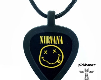 GUITAR PICK Necklace by Pickbandz pick holder in Black (or other selected color) with Nirvana guitar pick shown in main picture (1st image).