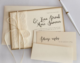 Gold and Lace Wedding Invitation