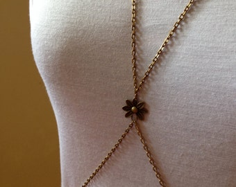 Brass Body Chain With Flower Accent