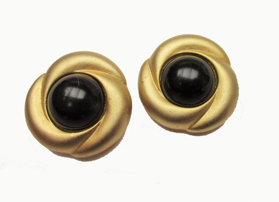 Norma Jean Earrings - Gold Black -round button -  Clip On earrings