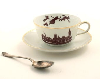 Altered  Peter Pan Cup Saucer Porcelain Dreams Barrie Tea Coffee Cocoa London England White Brown Romantic