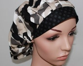 Bouffant Women's Scrub Hat, Mustaches with a Black Band