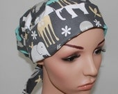 Pleated back Surgical Scrub Hat with band. Gray Zoology 24116