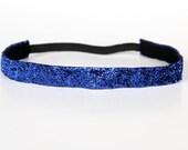 "Royal Blue Sparkle Non-Slip Headband 3/4"" - Running Headband, Sports Headband, Gifts for Her, Fitness Headband, Workout Headband, Cheer"