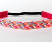 """Pink Bright Herringbone NonSlip Headband 1"""" Geometric, Gift for Runners, Running Headband, Fitness Headband, Dance Team Gifts, Yoga Headband"""