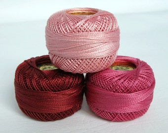 Perle Cotton Thread Set - Size 8 Finca Pearl Cotton by Presencia - Mauve - Pink - Rose - Yuletide 10