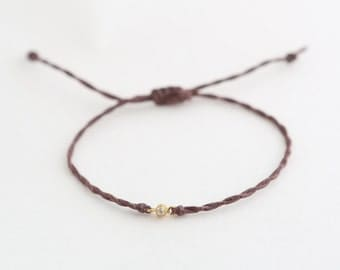 Twisted Waxed Cord Bracelet with CZ connector