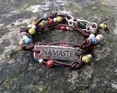 Boho Leather Wrap Bracelet, Yoga Inspired 3X Leather Wrap Bracelet  Namaste Charm Zen Bracelet Earth Tones Brown Leather Multi colored beads