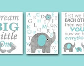 Nursery Quotes Baby Nursery Decor Dream Big Little One First We Had Each Other Then We Had You Baby Nursery Art Kid Art set of 3 Grey Teal /