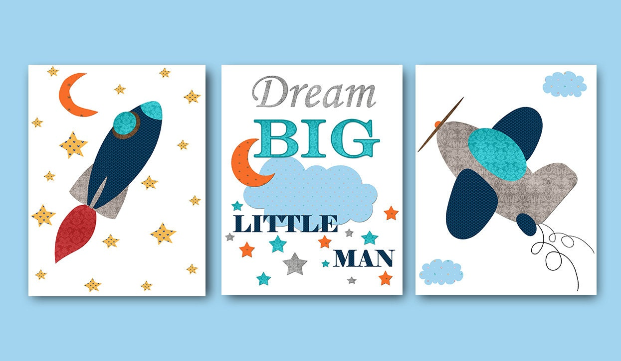 Gray navy nursery print childrens art baby boy nursery decor - Baby Shower Gift Baby Boy Nursery Quotes Dream Big By