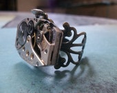 Father Time Steampunk Vintage Watch Parts Ring Uni Sex Rings Etsy Industrial Ring Free Shipping  USA Only