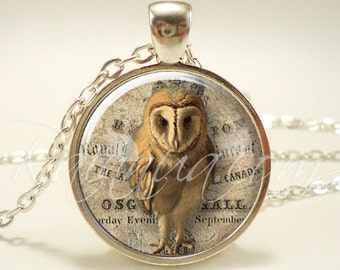 Owl Jewelry, Woodland Animal Necklace, Vintage Folk Art Pendant (1811S1IN)