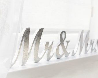 Mr and Mrs table sign wedding wooden letters  DIY custom colors silver sweetheart table signs